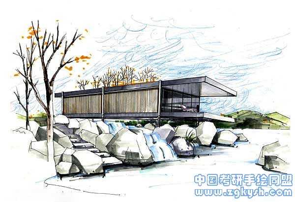 建筑手绘透视效果图效果图,建筑,手绘,透视图手绘效果图