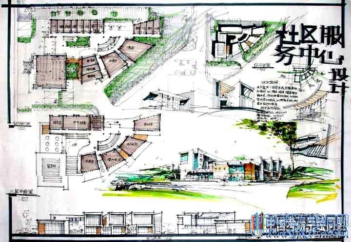 社区服务中心建筑设计考研手绘快题