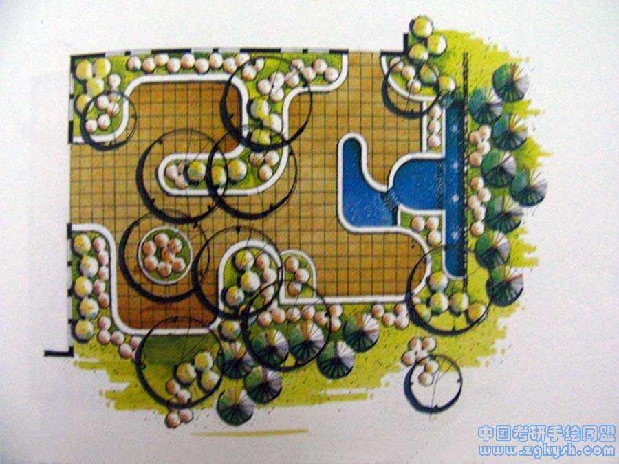 城市休闲绿地设计景观手绘平面图园林景观 环艺手绘中国考