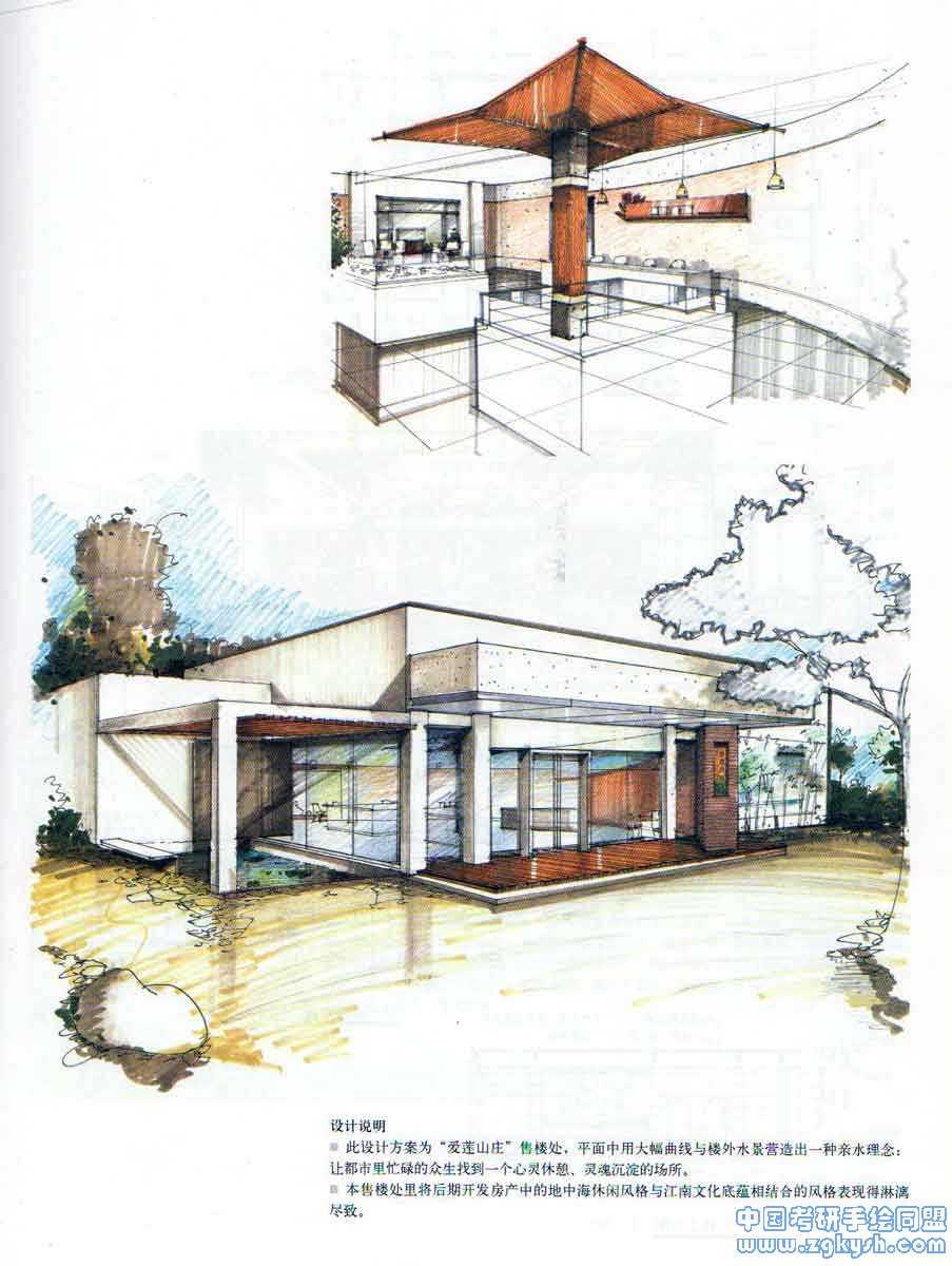售楼处室内设计,手绘快题