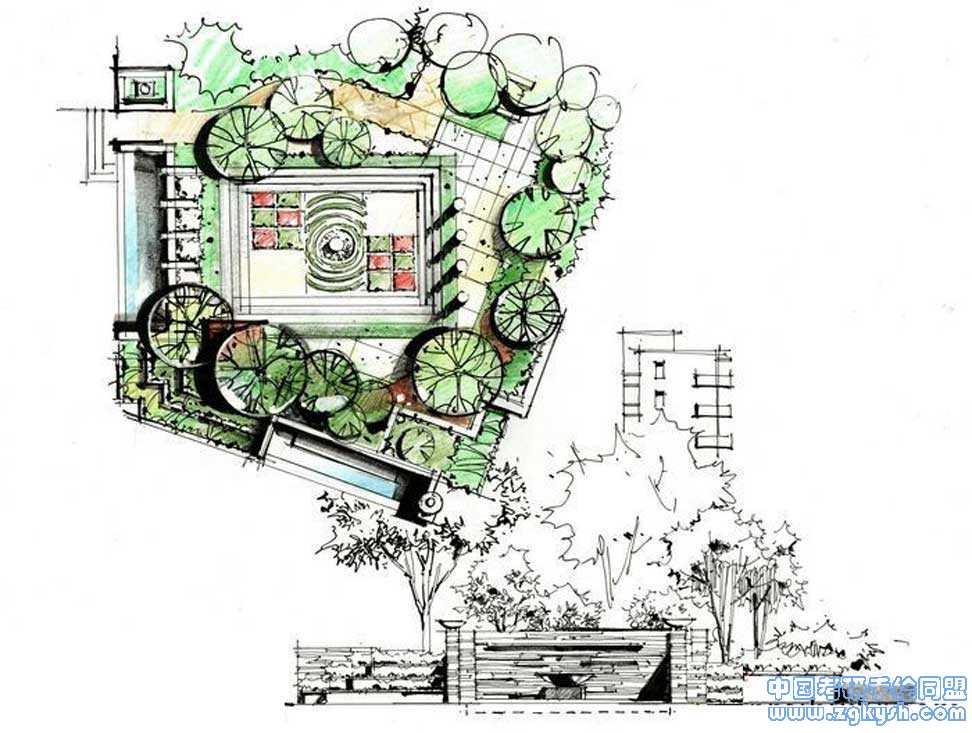别墅景观手绘快题设计