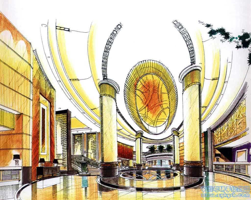 展厅手绘效果图 - 室内手绘表现效果图
