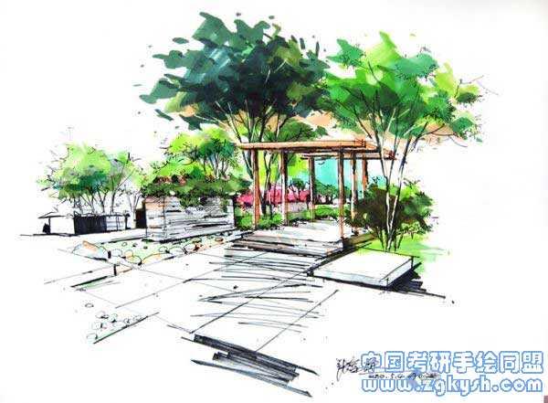 园林景观手绘小品景观,手绘手绘效果图