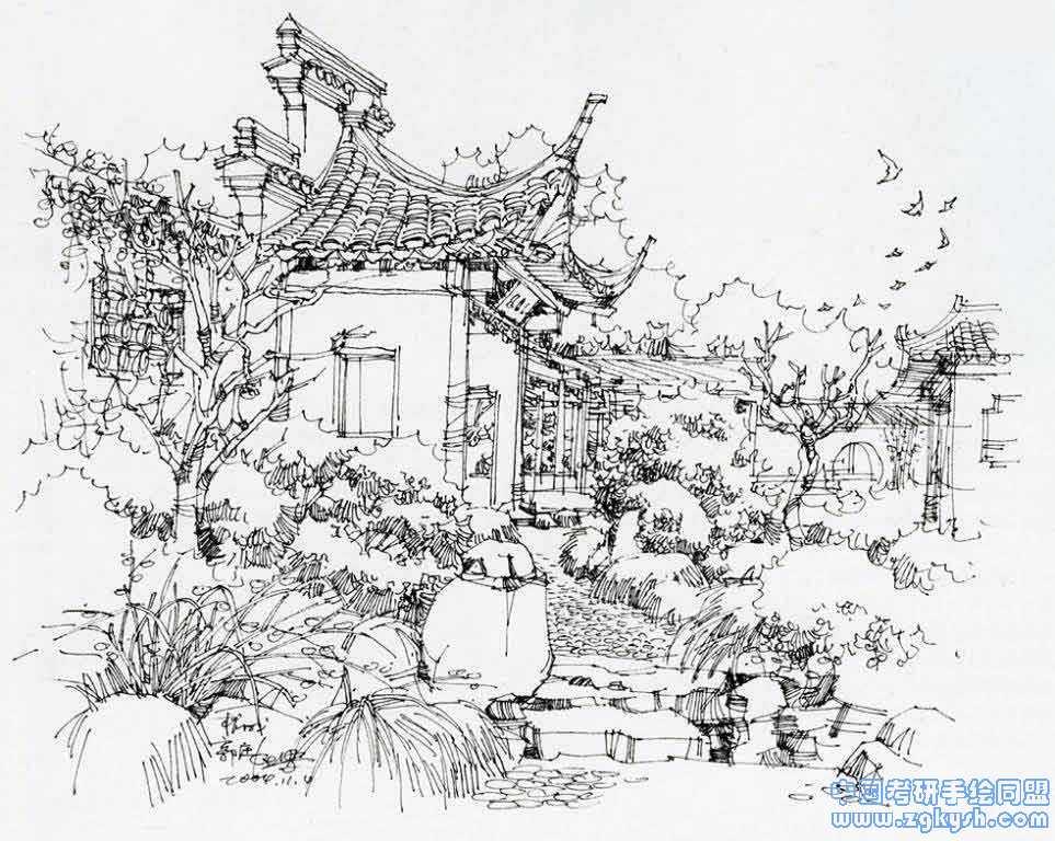 收藏的夏克梁手绘黑白线稿效果图