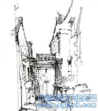 考研手绘网 69 手绘效果图 69 建筑手绘 69 建筑手绘黑白线稿