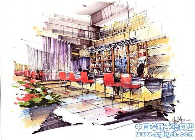 餐厅室内手绘设计效果图