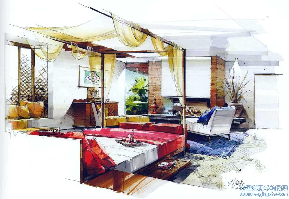 卧室设计手绘马克笔效果图——室内设计