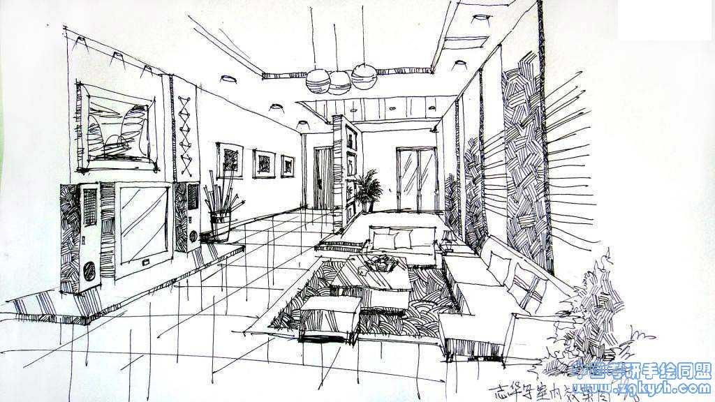 室内手绘线稿和马克笔上色效果图