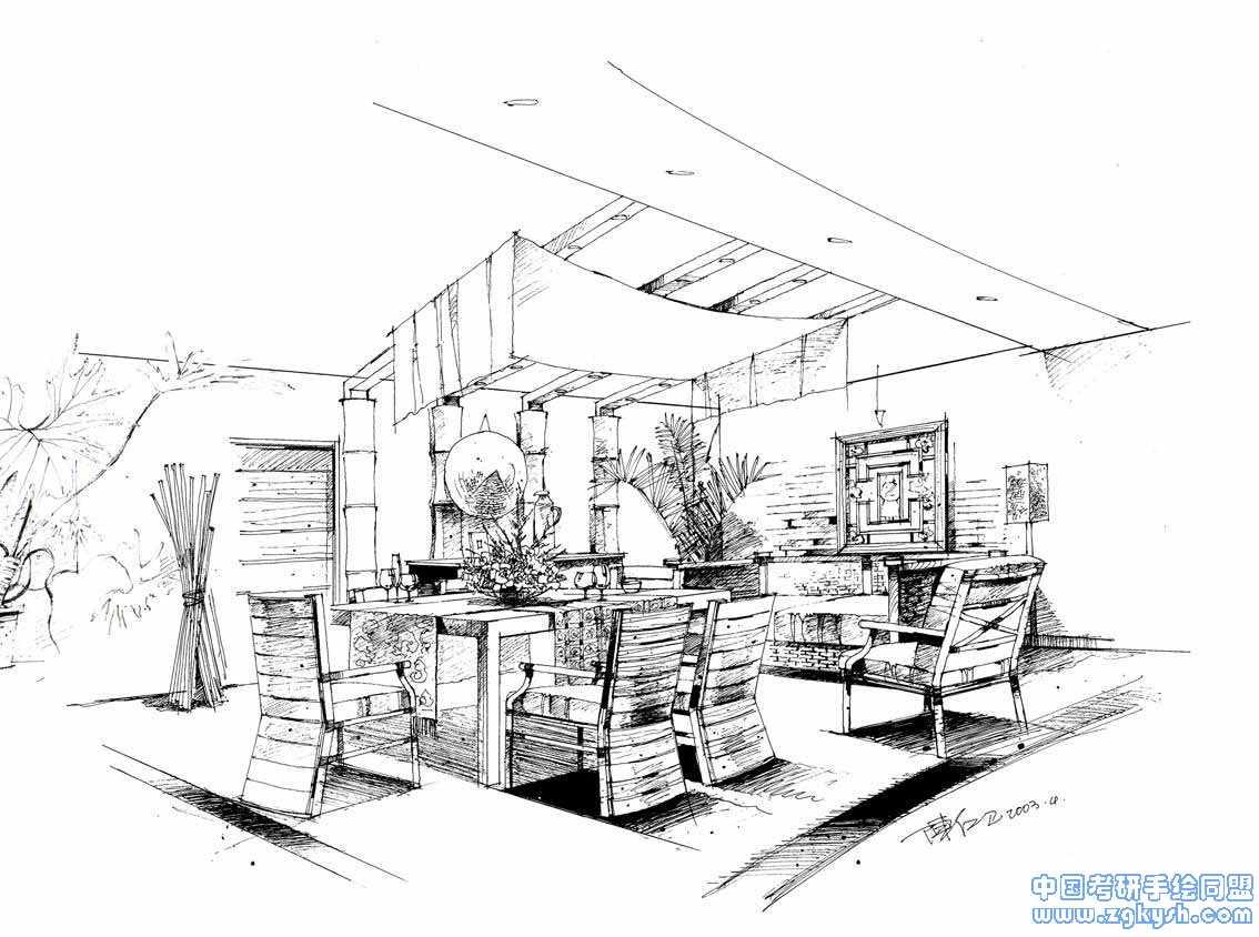 室内设计手绘线稿效果图