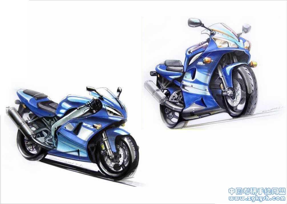 摩托车手绘效果图