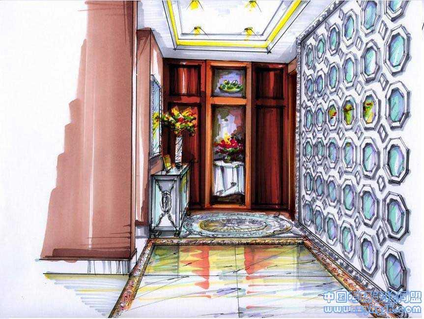 彩铅手绘美式室内效果图