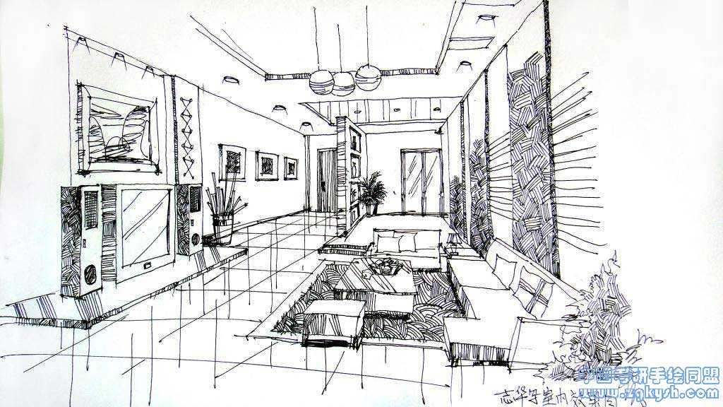 室内设计手绘线稿和上色效果图室内设计,手绘线稿,上色,手绘高清图片