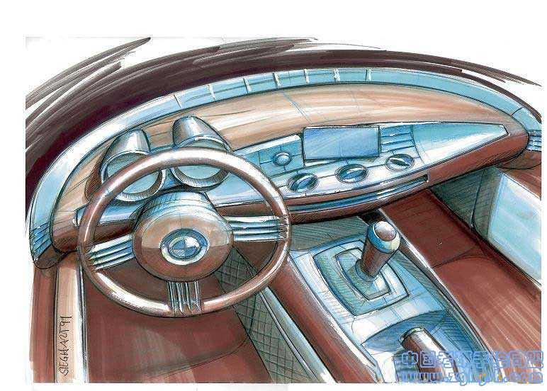 汽车操控区内部设计效果图汽车手绘