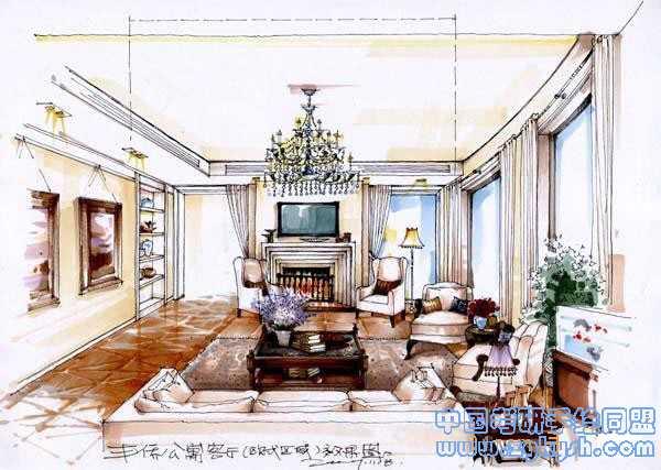 欧式公寓客厅设计手绘效果图公寓室内