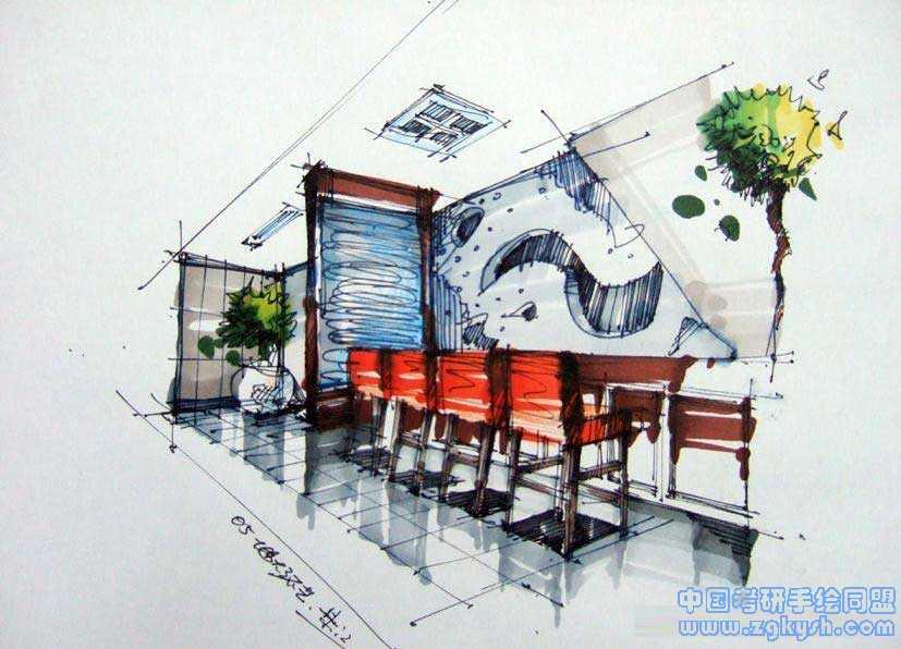 酒吧吧台装修设计手绘效果图