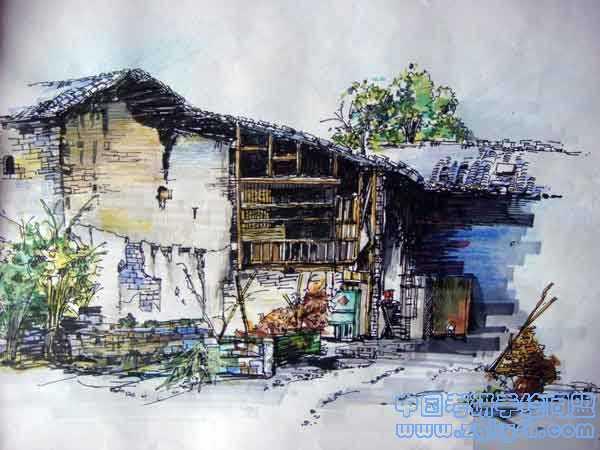 农家小院的手绘效果图建筑手绘,农家小院,马克笔彩铅,手绘效