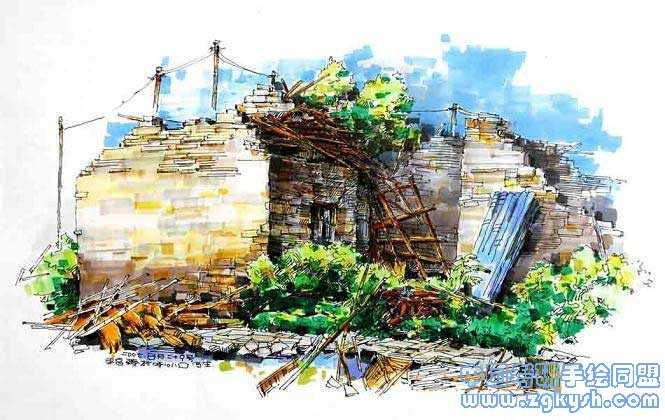 旧房建筑手绘效果图建筑手绘