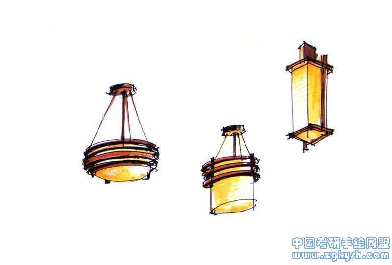简单室内手绘灯具单体手绘图