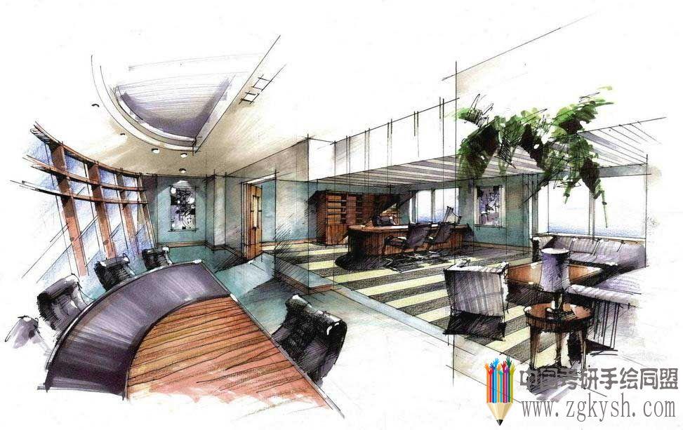 办公空间设计-室内快题设计手绘效果图