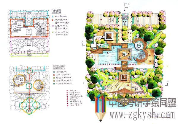 考研手绘快题 69 风景园林手绘快题 69 蝶恋花公园手绘快题设计