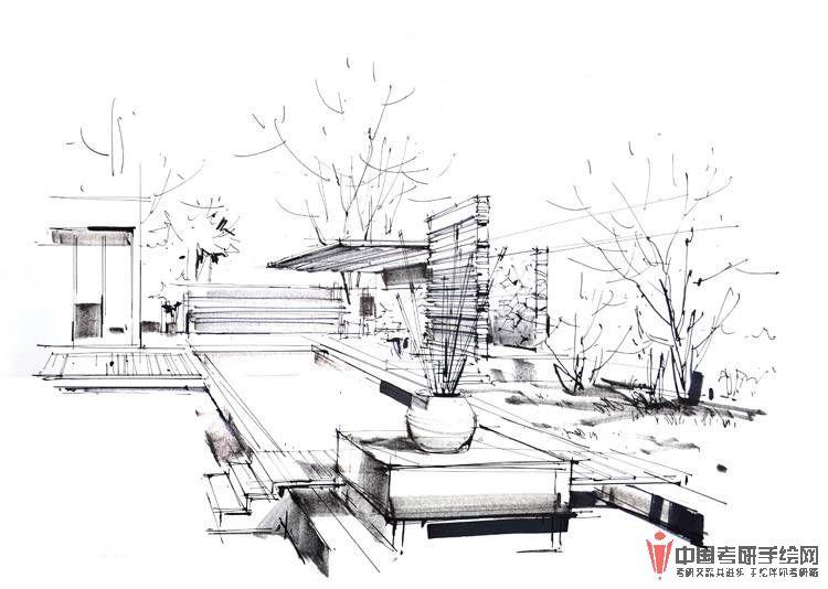 沙沛手绘景观设计马克笔表现步骤图