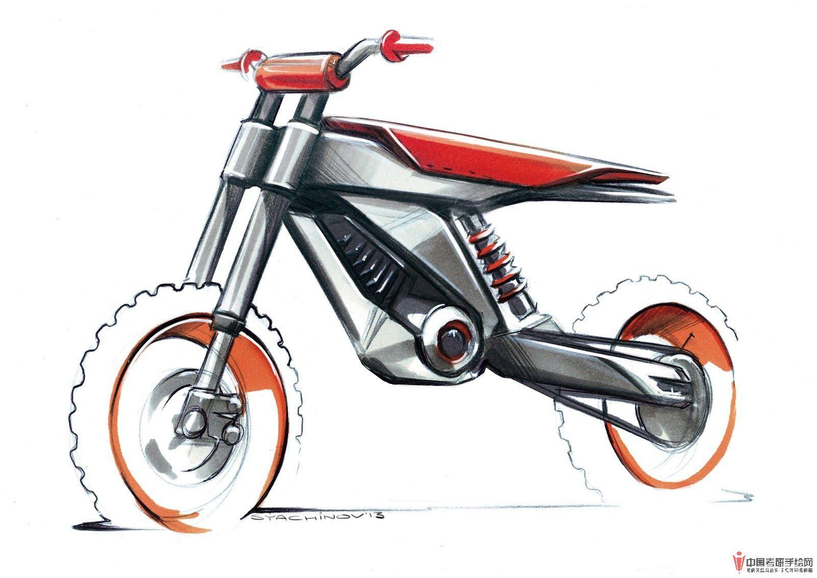 大量原创摩托车马克笔手绘效果图(二)