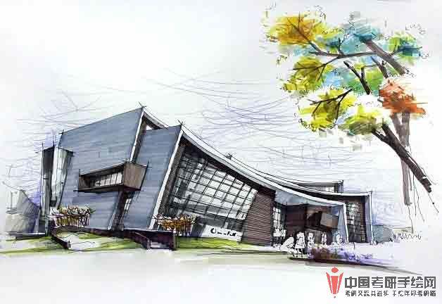 著名大师的建筑手绘效果图展示2