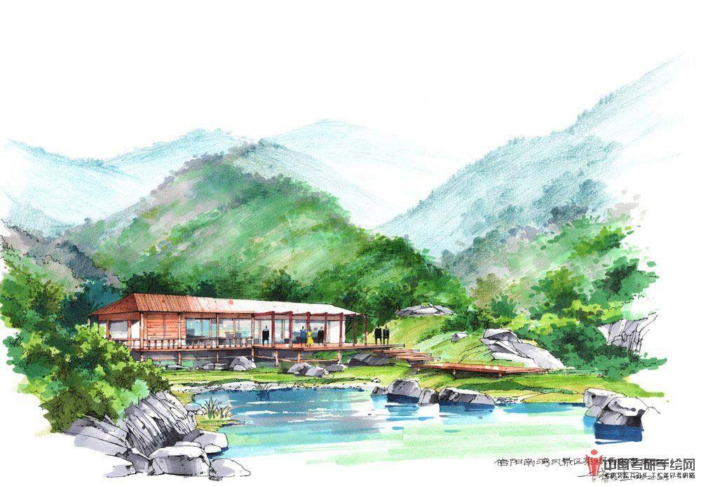 风景园林景观手绘景观小品效果图2展示风景园林,效果图,手