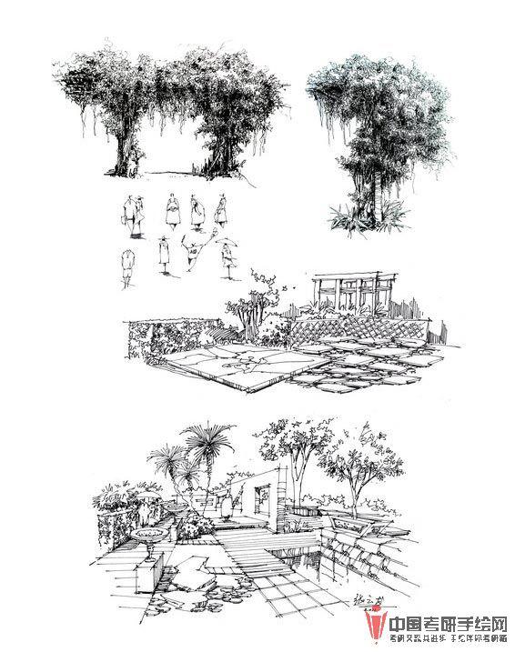 风景园林景观手绘线稿效果图表现2