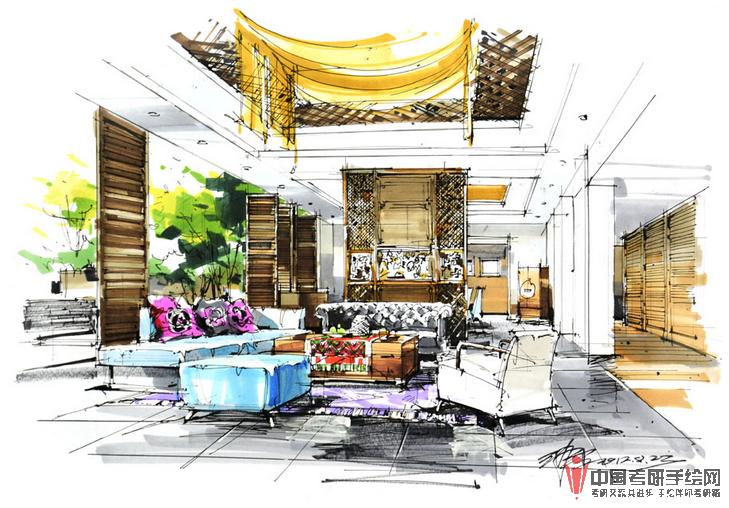 沙沛室内手绘效果图作品展示