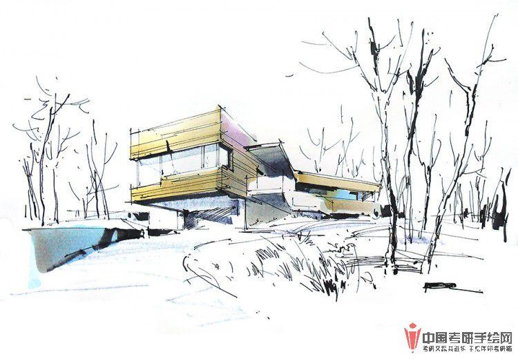 建筑手绘马克笔表现步骤图(一)产品设计