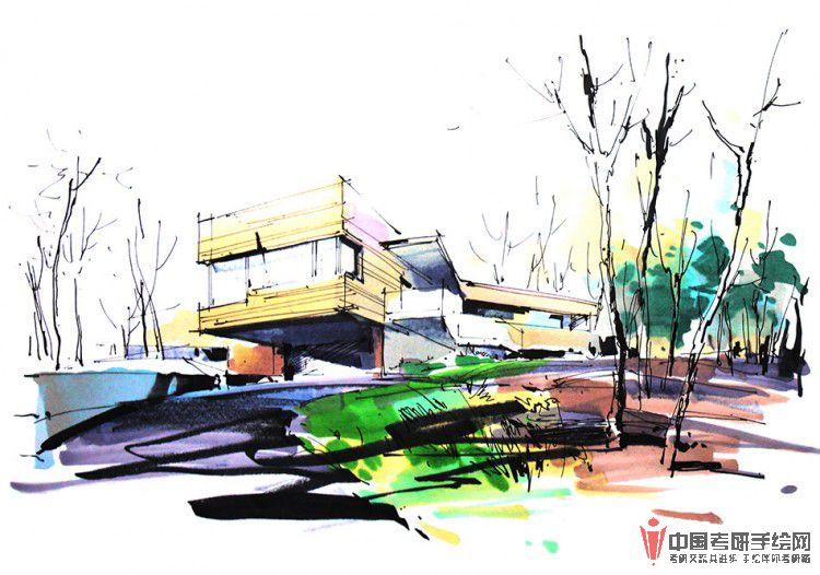 建筑手绘马克笔表现步骤图(一)