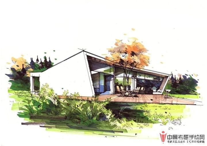 建筑手绘马克笔表现步骤图(一)产品设计,建筑,手绘图