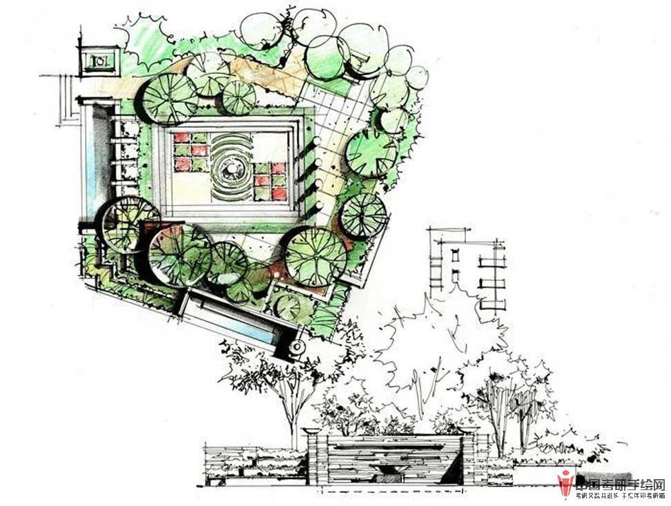 别墅庭院手绘快题设计
