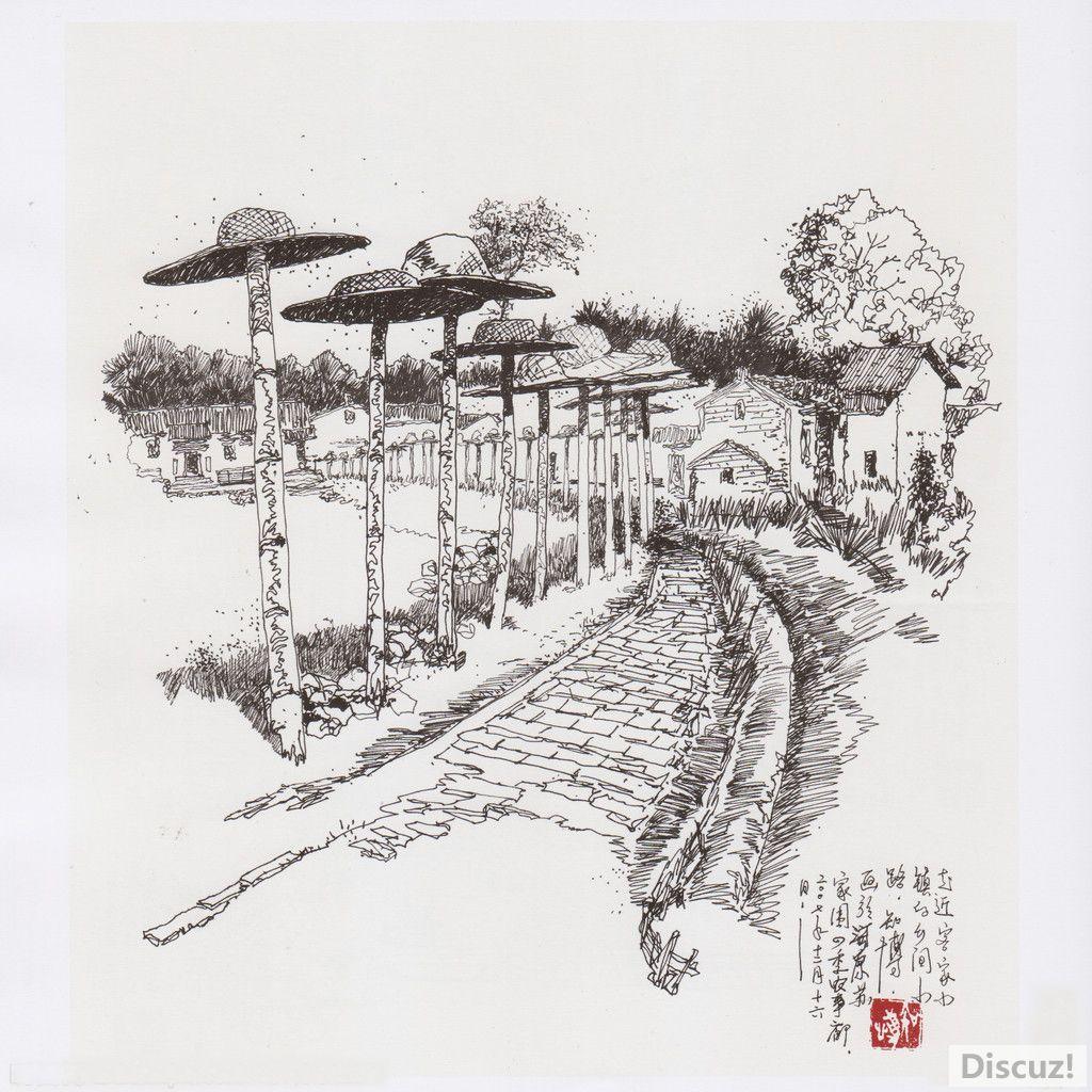 广东地区客家古代民居建筑手绘