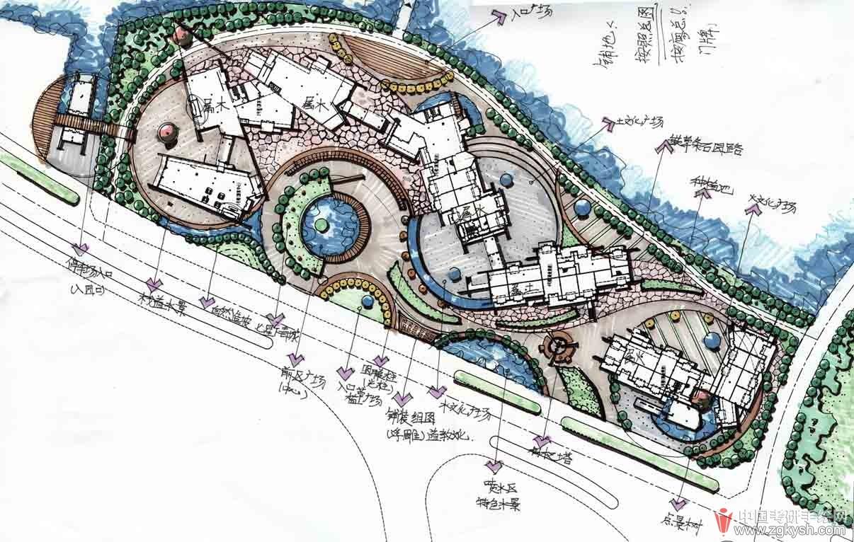 游园景观设计概念构思手绘草图