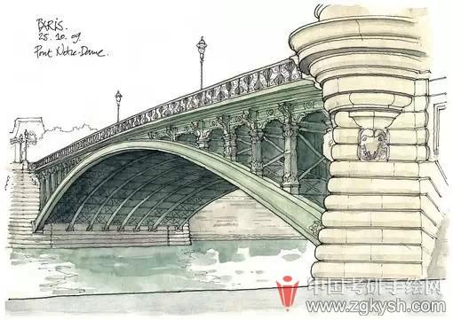 欧式建筑彩铅手绘图片