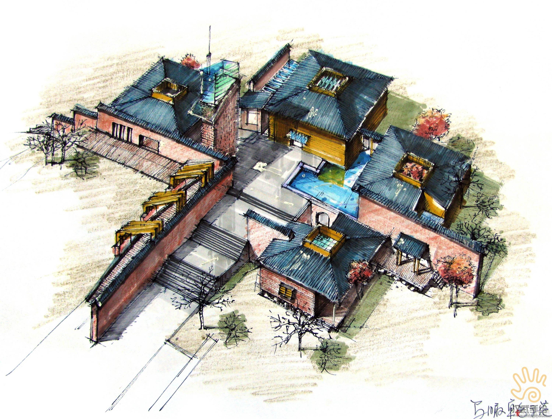 山坡会所建筑设计手绘鸟瞰图