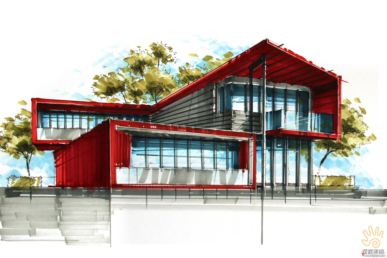 艺术家画廊建筑设计手绘方案图