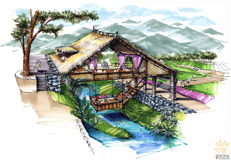 草屋吊楼透视手绘上色
