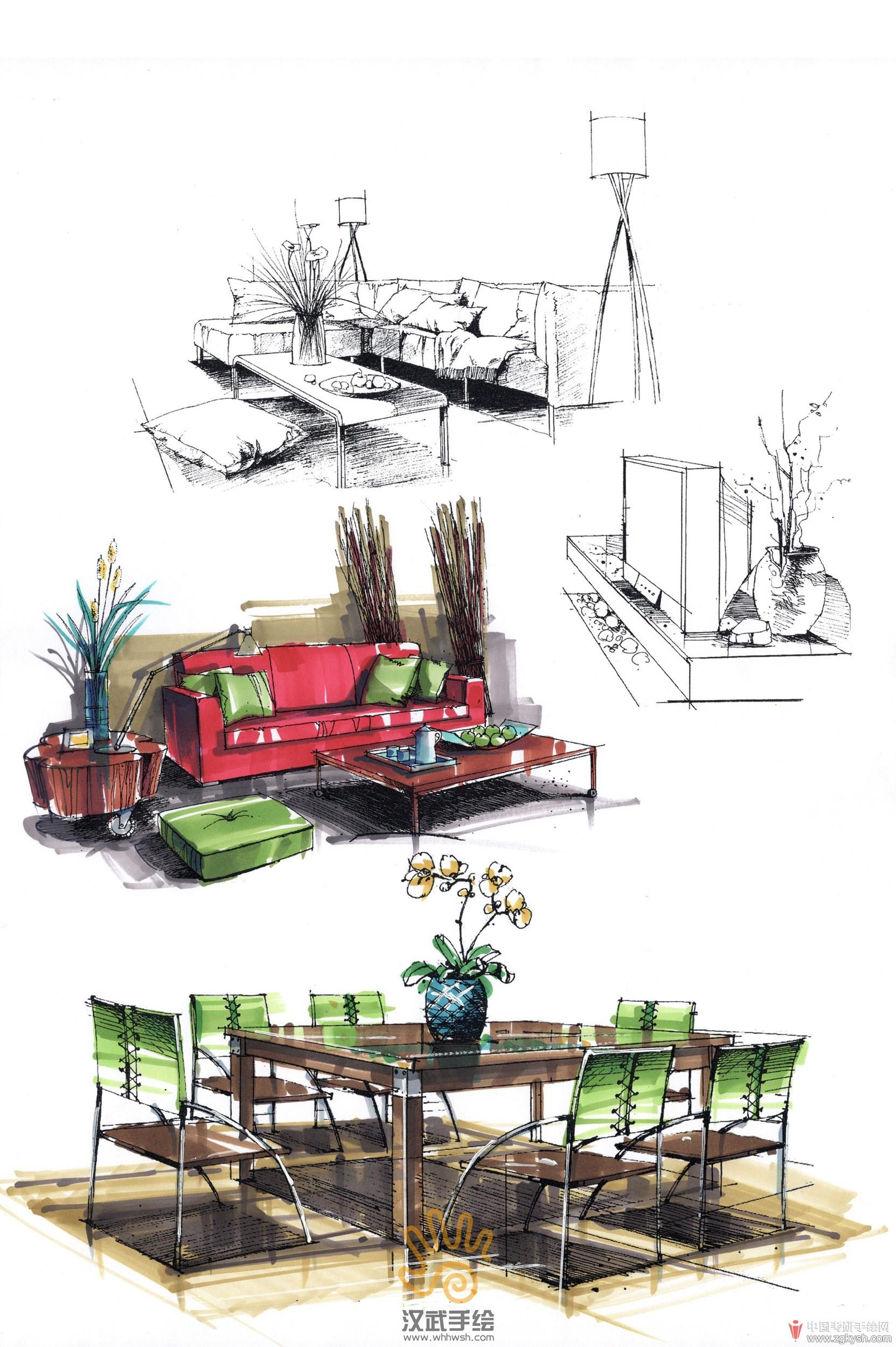 室内沙发手绘组合上色2.jpg