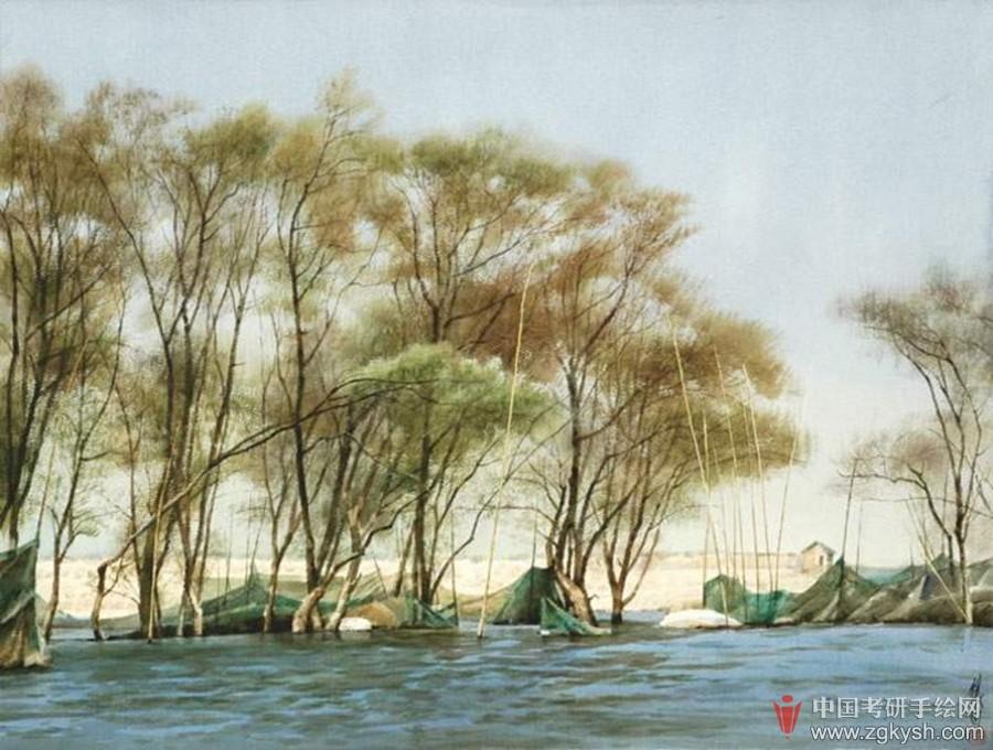 用水彩画家乡的风景