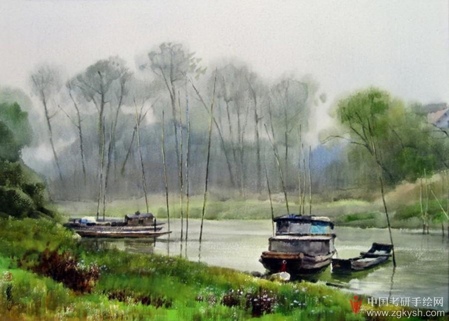 69 考研手繪快題 69 風景園林手繪快題 69 黃鐵山水彩畫作品