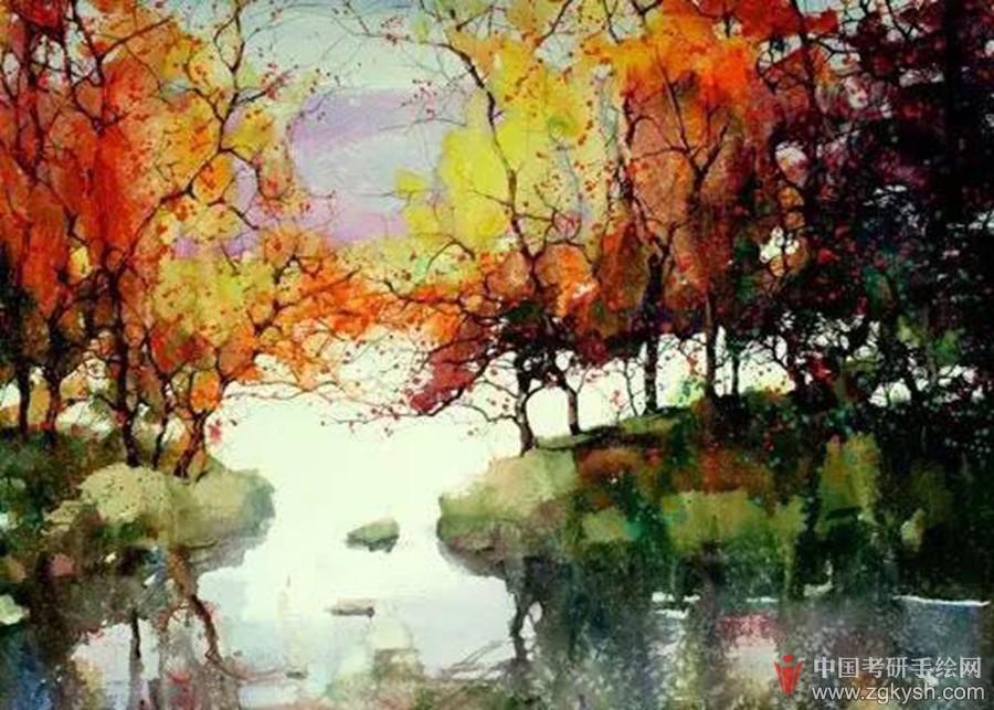 考研手绘快题 69 风景园林手绘快题 69 冯出的水彩风景,有点中国