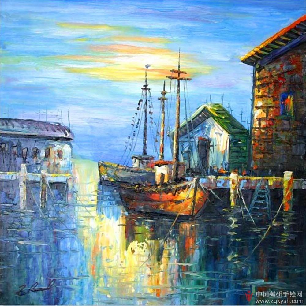 欧洲小镇风景油画图片