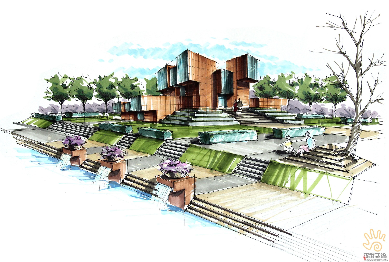 纪念馆建筑设计手绘效果图.jpg