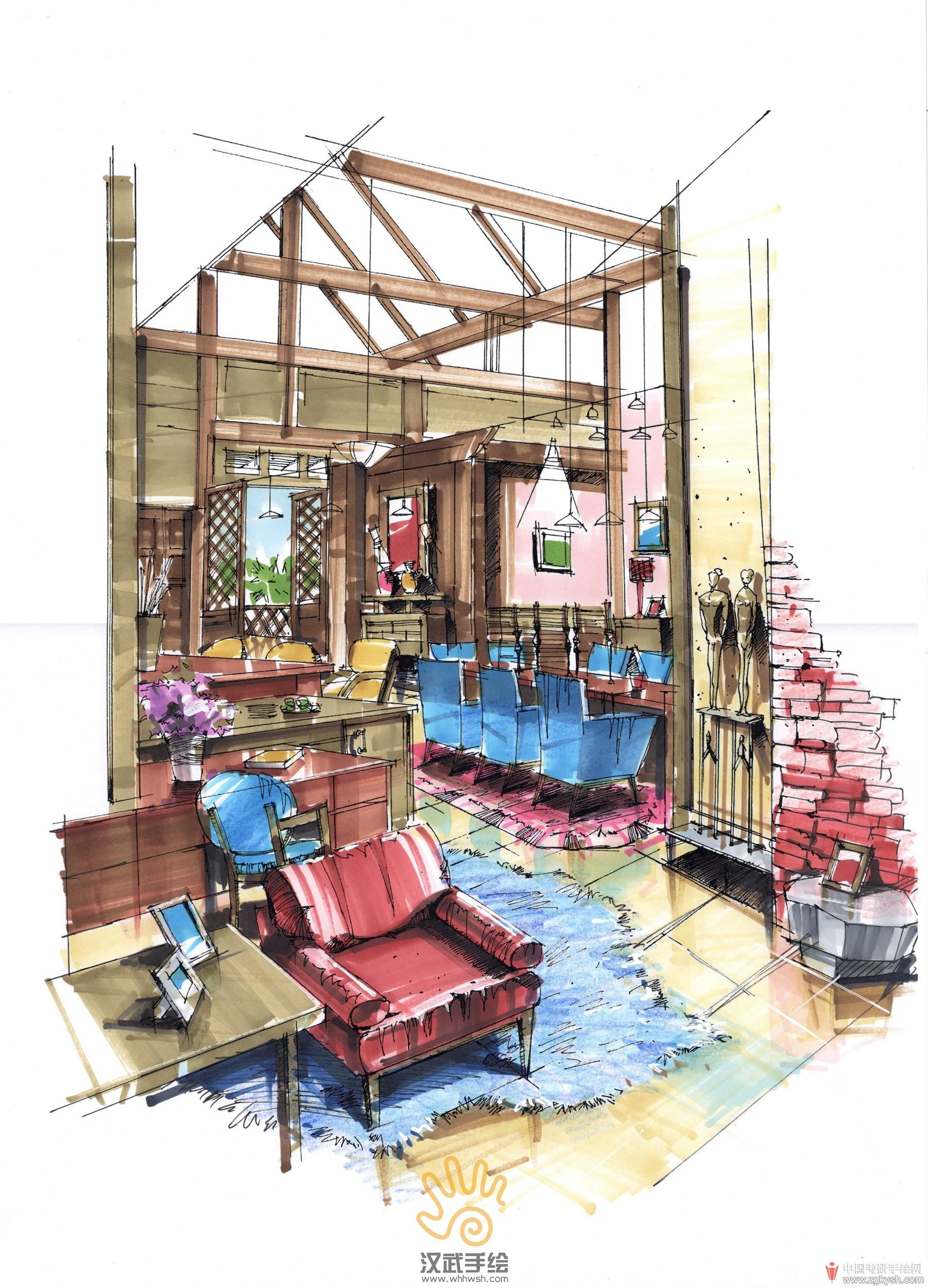 特色餐厅室内手绘透视上色.jpg