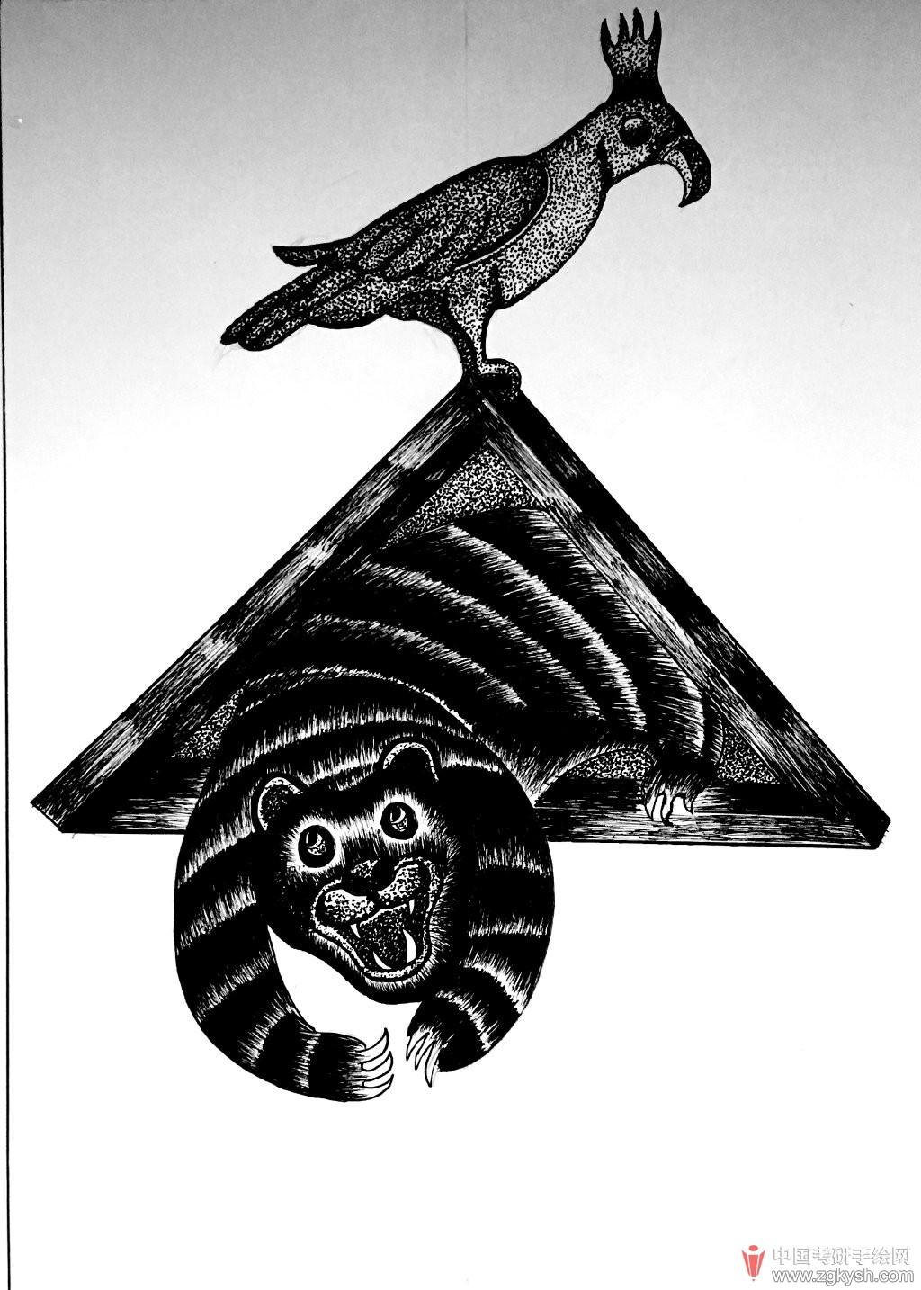 手绘黑白插画
