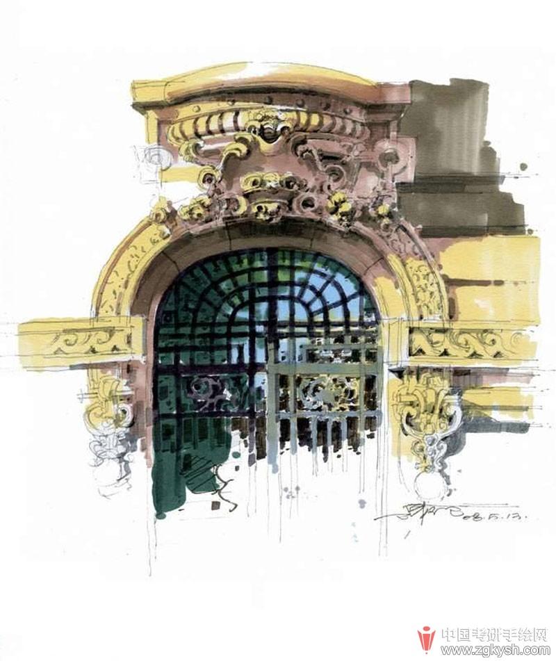 欧式建筑马克笔细节表现手绘效果图 - 学习手绘zgkysh