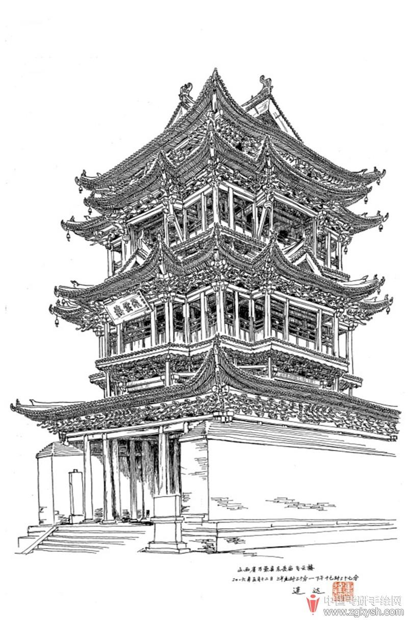 在五台山台怀镇那些多得数不过来的明清寺庙中,圆照寺的规模算是很可观的了。寺院修建在半山腰上,背靠广宗寺和菩萨顶,俯瞰显通寺和塔院寺,自有一种前呼后拥的华贵气度。大雄宝殿是寺内最宏伟的殿宇,为明代所建。因为五台山是文殊菩萨的道场,许多寺中都供奉有他的塑像,圆照寺大雄宝殿佛祖法身的正前方即是端坐在神狮上的文殊菩萨形象。在圆照寺盘桓两日,与寺中僧众逐渐熟识,他们热情地请我吃斋饭,还送给我一些佛前供果。在这幅画中,我把大雄宝殿前的松树主观画成倾斜状以免破坏大殿的完整性,身旁围观的僧人们还为此争论了一番。